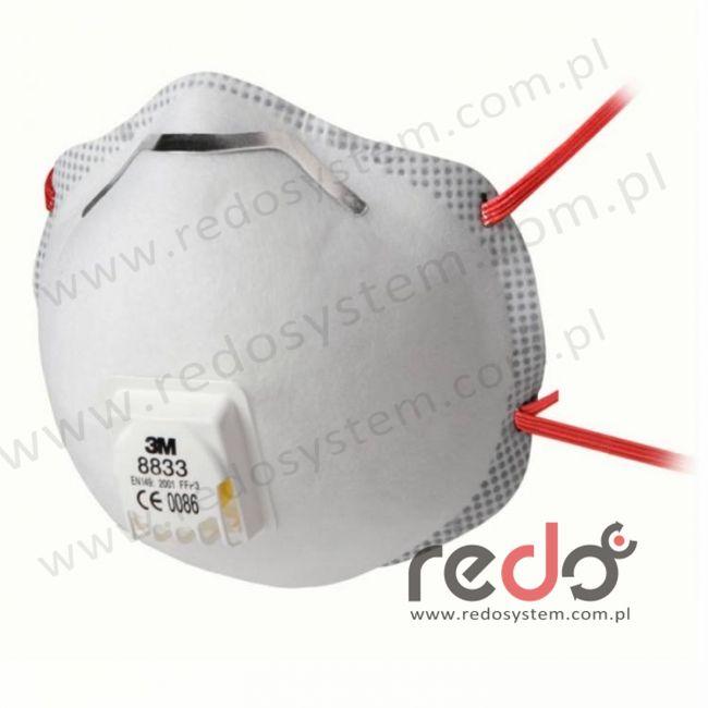 Półmaska filtrująca 3M™ 8833, kopułkowa z zaworem wydechowym klasa FFP3 50xNDS (8833)