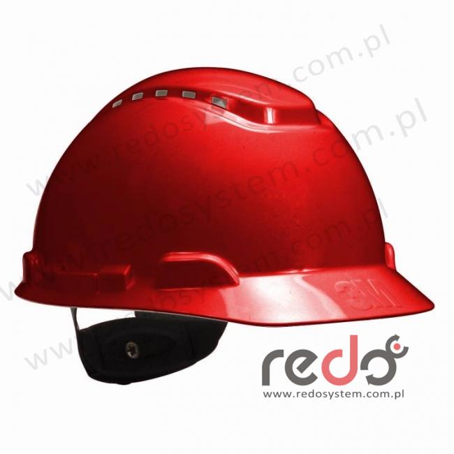 Hełm ochronny H-700 czerwony z wentylacją, standardowa więźba