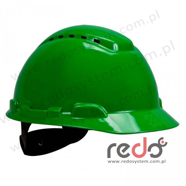 Hełm ochronny H-700 zielony z wentylacją, standardowa więźba