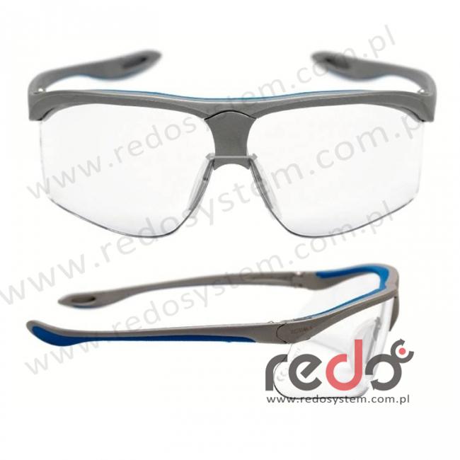 Okulary MAXIM SPORT srebrne zauszniki niebieskie + bezbarwna soczewka DX