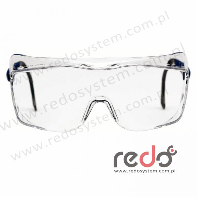 Okulary OX2000 soczewka bezbarwna DX, z niebiesko-czarnymi zausznikami