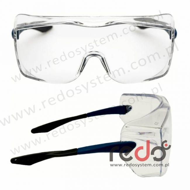 Okulary OX3000 soczewka bezbarwna DX, z niebiesko-czarnymi płaskimi zausznikami