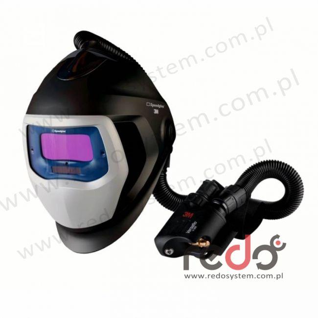 Przyłbica spawalnicza 3M™ Speedglas 9100 Air z filtrem 9100V oraz aparatem wężowym sprężonego powietrza Versaflo V-500E