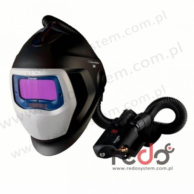 Przyłbica spawalnicza 3M™ Speedglas 9100 Air z filtrem 9100X oraz aparatem wężowym sprężonego powietrza Versaflo V-500E