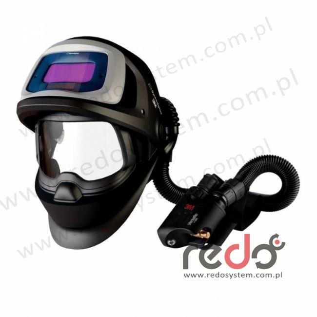 Przyłbica spawalnicza 3M™ Speedglas 9100 FX Air z filtrem 9100XX oraz aparatem wężowym sprężonego powietrza Versaflo V-500E