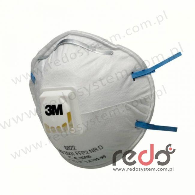 Półmaska filtrująca 3M™ 8822, kopułkowa z zaworem wydechowym klasa FFP2 12xNDS (8822)