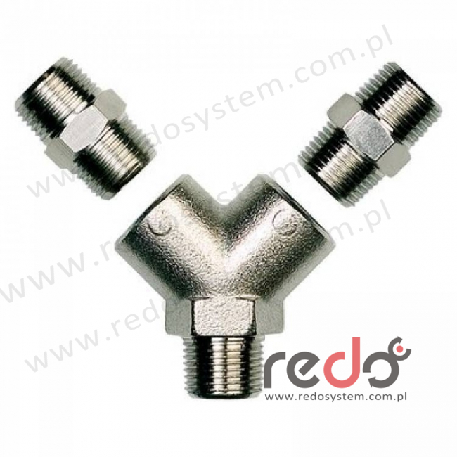 łącznik przewodów 2-drożny - gwint wewnętrzny 3/8 BSP female - w komplecie adapter z gwintem zewnętrznym 3/8 BSP (312-03-01P3)