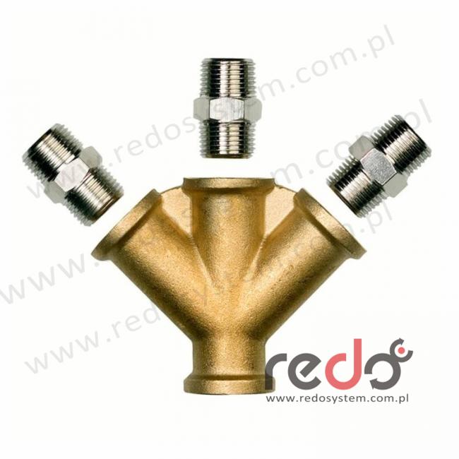 łącznik przewodów 3-drożny - gwint wewnętrzny 3/8 BSP - w komplecie adapter z gwintem zewnętrznym 3/8 BSP (312-03-00P3)