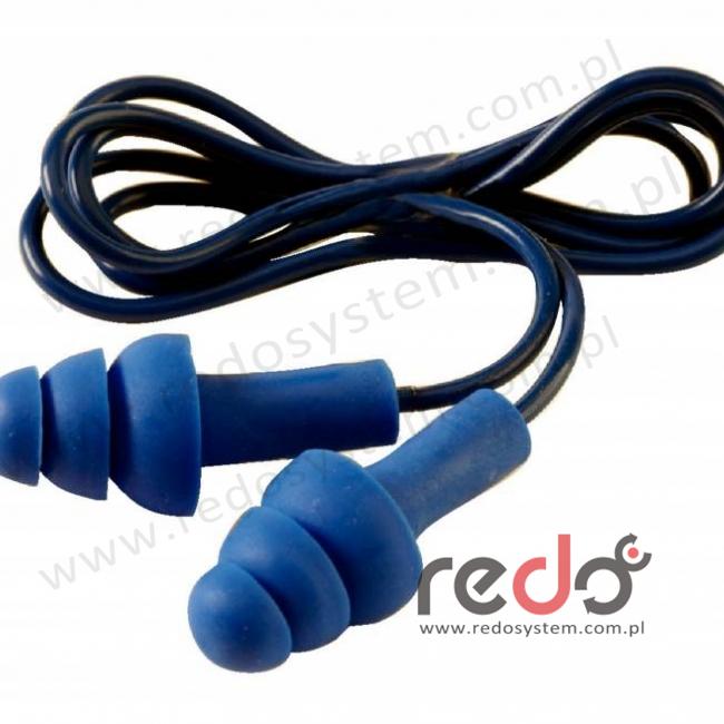 Wkładki przeciwhałasowe 3M™ Tracer - niebieskie, widoczne dla wykrywaczy metali, na sznurku, w pudełku (SNR 32 dB) (TR-01-020)