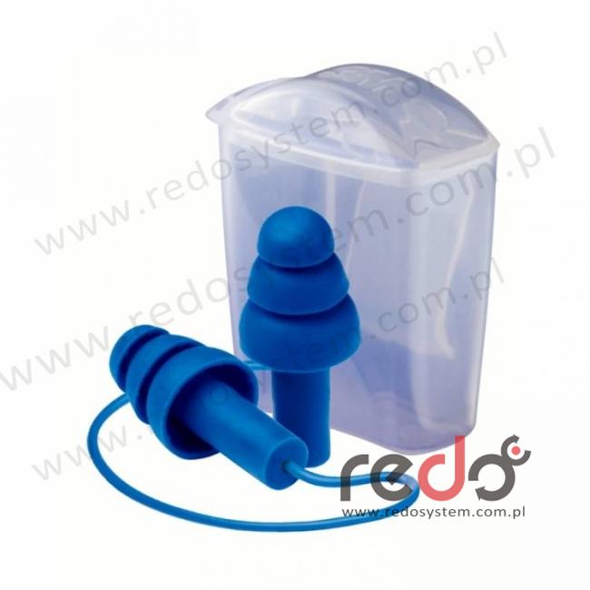 Wkładki przeciwhałasowe 3M™ Tracer 20 - niebieskie, widoczne dla wykrywaczy metali, na sznurku (SNR 32 dB) (TR-01-100)