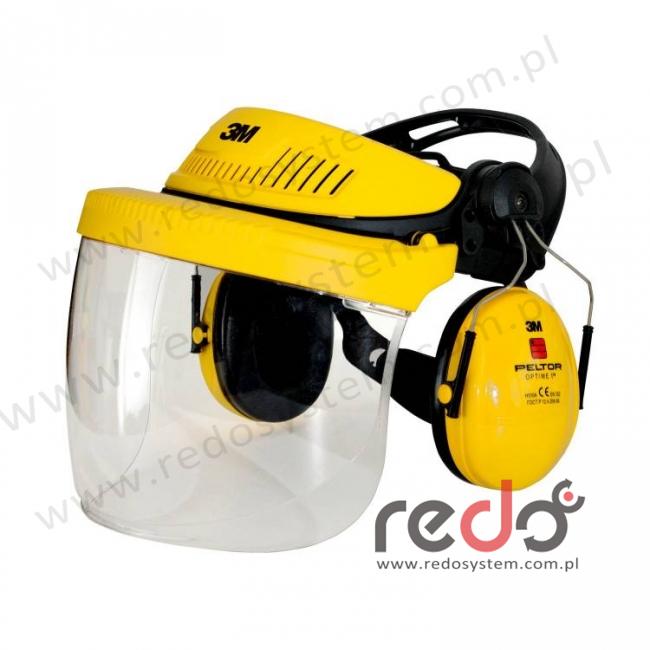 Zestaw ochronny dla przemysłu: nagłowie G500, osłona twarzy 5F11, nauszniki przeciwhałasowe Optime I (G500V5FH510-GU)