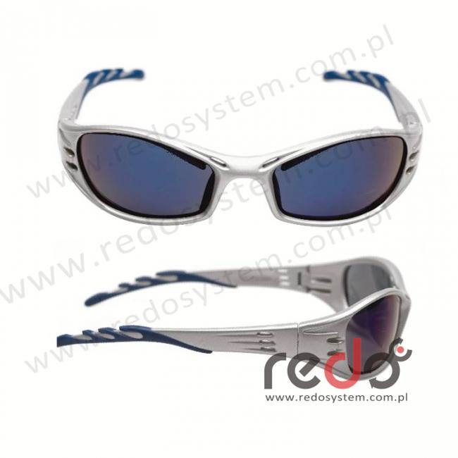 Okulary FUEL kolor platynowy, niebieska soczewka lustrzana + futerał z mikrowłókien (71502-00002M)