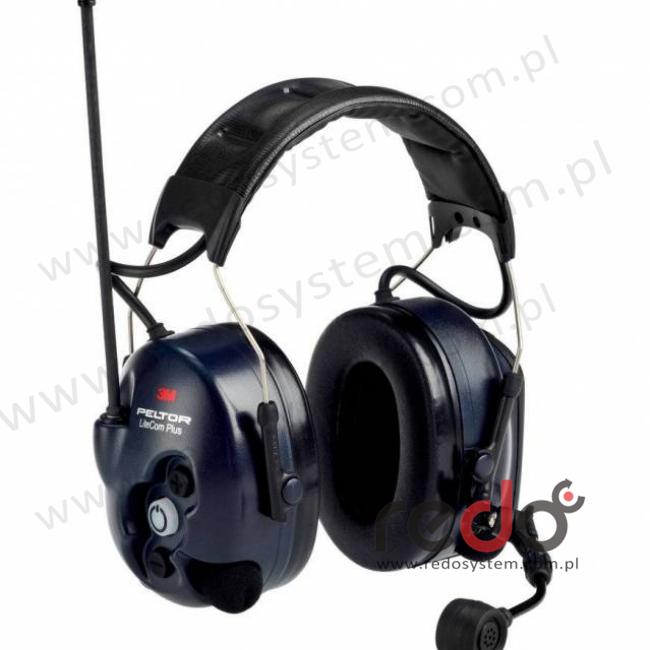 3M™ Peltor™ LiteCom Plus  o regulowanym tłumieniu z wbudowanym radiotelefonem PMR 446 MHz - nagłowny (MT7H7A4410-EU)