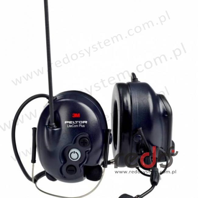 3M™ Peltor™ LiteCom Plus  o regulowanym tłumieniu z wbudowanym radiotelefonem PMR 446 MHz - nakarkowy (MT7H7B4410-EU)