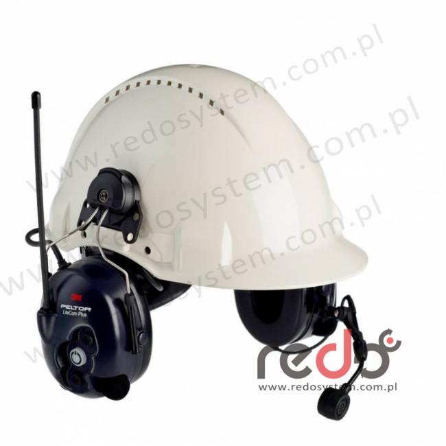 3M™ Peltor™ LiteCom Plus  o regulowanym tłumieniu z wbudowanym radiotelefonem PMR 446 MHz - nahełmowy (MT7H7P3E4410-EU)