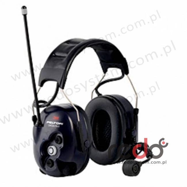 3M™ Peltor™ LiteCom Pro II o regulowanym tłumieniu z wbudowanym, programowalnym radiotelefonem 403 MHz- 470 MHz, mikrofon dynamiczny wersja nagłowna (