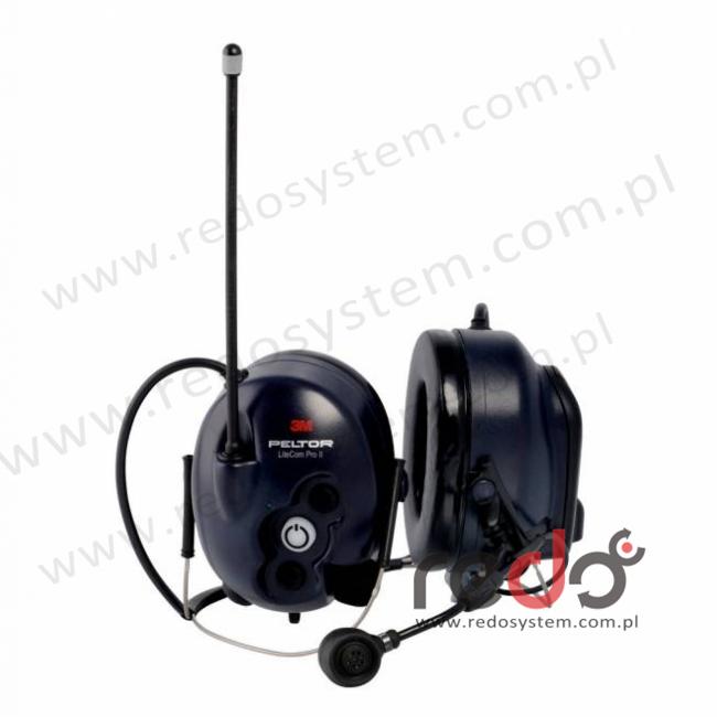 3M™ Peltor™ LiteCom Pro II o regulowanym tłumieniu z wbudowanym, programowalnym radiotelefonem 403 MHz- 470 MHz, mikrofon dynamiczny wersja nakarkowa