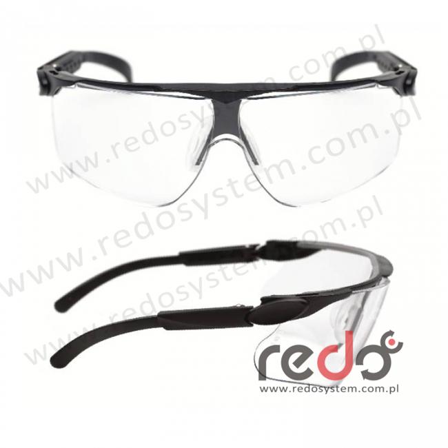 Okulary MAXIM czarne regulowane zauszniki + bezbarwna soczewka DX