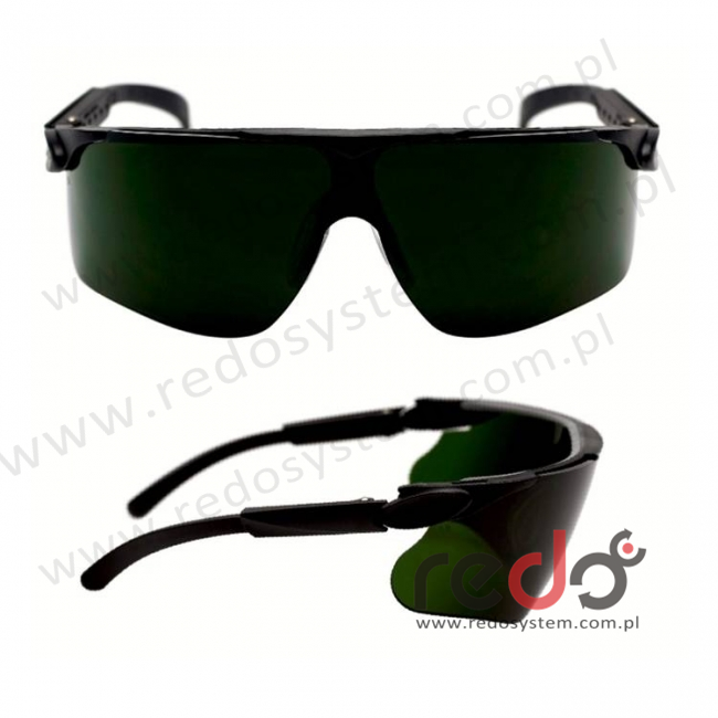 Okulary MAXIM czarne regulowane zauszniki + spawalnicze zaciemnienie 3,0