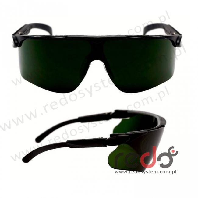 Okulary MAXIM czarne regulowane zauszniki + spawalnicze zaciemnienie 5,0