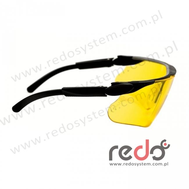 Okulary MAXIM czarne regulowane zauszniki + żółta soczewka DX