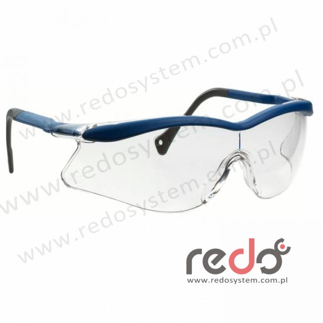 Okulary QX1000 niebieskie, płaskie zauszniki, przezroczysta soczewka DX (04-1021-0140M)