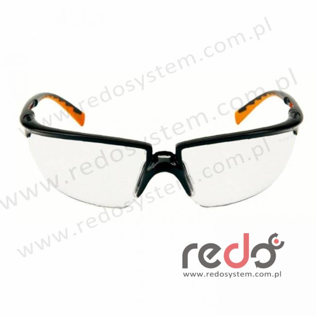 Okulary SOLUS czarne / pomarańczowe, przezroczysta soczewka AS + futerał z mikrowłókien (71505-00001M)