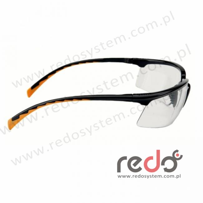 Okulary SOLUS czarne / pomarańczowe, przezroczysta soczewka AS-AF + futerał z mikrowłókien (71505-00002M)