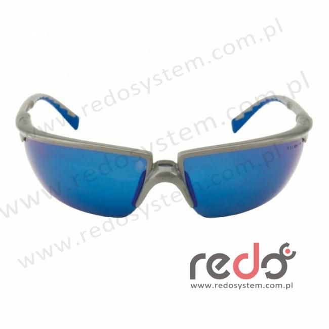 Okulary SOLUS srebrne/ niebieskie, niebieska lustrzana soczewka + futerał z mikrowłókien (71505-00009M)