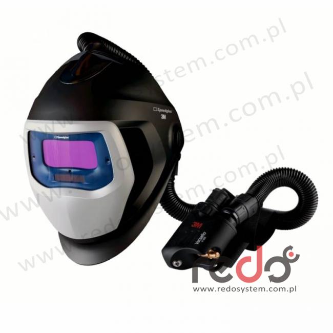 Przyłbica spawalnicza 3M™ Speedglas 9100 Air z filtrem 9100V oraz aparatem wężowym sprężonego powietrza Versaflo V-500E (568505)