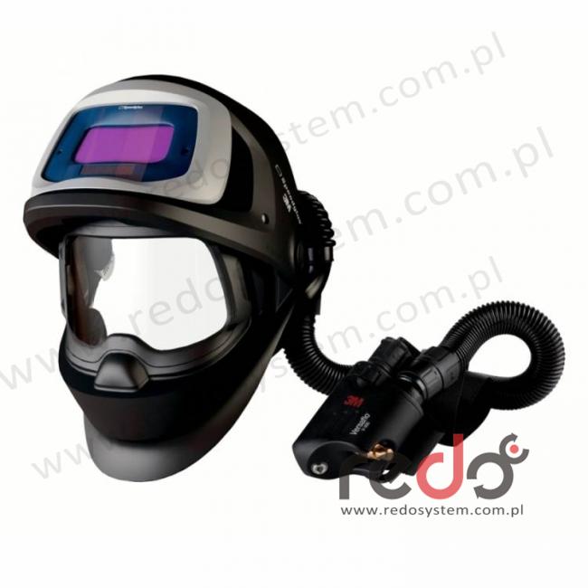 Przyłbica spawalnicza 3M™ Speedglas 9100 FX Air z filtrem 9100V oraz aparatem wężowym sprężonego powietrza Versaflo V-500E